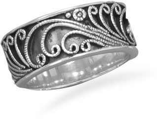 Oxidized Wire Swirl Design Band 925 Sterling Silver