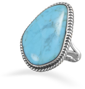 Freeform Turquoise Ring 925 Sterling Silver