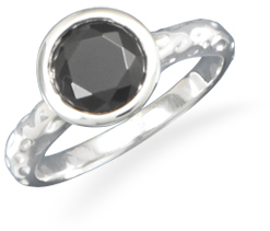 Textured Ring with Faceted Black CZ 925 Sterling Silver