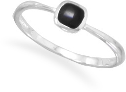 Square Black Onyx Inlay Ring 925 Sterling Silver