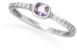 Purple and Clear CZ Ring 925 Sterling Silver