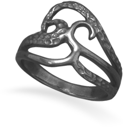 Black Rhodium Plated Open Design Ring 925 Sterling Silver