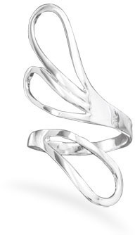 Open Fan Design Adjustable Ring 925 Sterling Silver