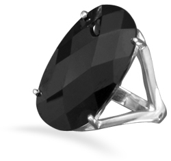 Large Oval Black CZ Ring 925 Sterling Silver