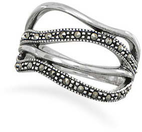 Open Band Design Marcasite Ring 925 Sterling Silver