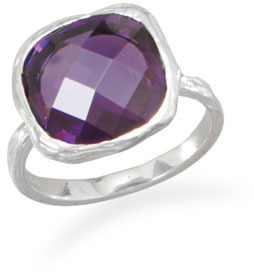 Textured Purple CZ Ring 925 Sterling Silver
