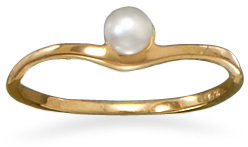 14 Karat Gold Plated Cultured Freshwater Pearl Ring 925 Sterling Silver