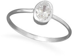 Oval Clear CZ Ring 925 Sterling Silver