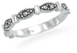 Marquise Shape Band with Marcasite 925 Sterling Silver