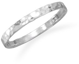 Children's Thin Hammered Band 925 Sterling Silver