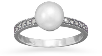 Marcasite and Cultured Freshwater Pearl Ring 925 Sterling Silver