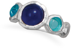 Blue Glass Ring 925 Sterling Silver