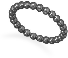 Gun Metal Plated Beaded Band 925 Sterling Silver