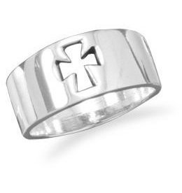 Cut Out Cross Ring 925 Sterling Silver
