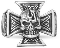 Oxidized Maltese Cross and Skull Ring 925 Sterling Silver