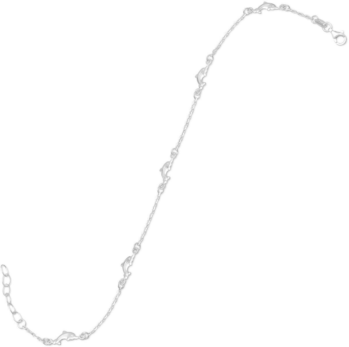 "9"" + 1"" Dolphin Anklet 925 Sterling Silver"