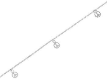 "9"" + 1"" Anklet with Peace Sign Charms 925 Sterling Silver"