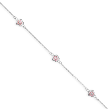 "9"" + 1"" Pink Crystal Flower Anklet 925 Sterling Silver - DISCONTINUED"