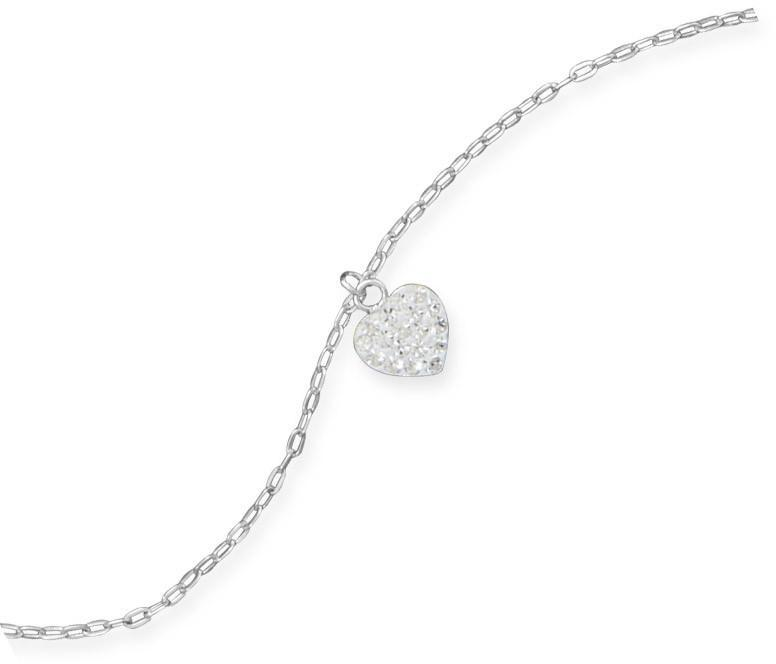 "9"" + 1"" Crystal Heart Charm Anklet 925 Sterling Silver"