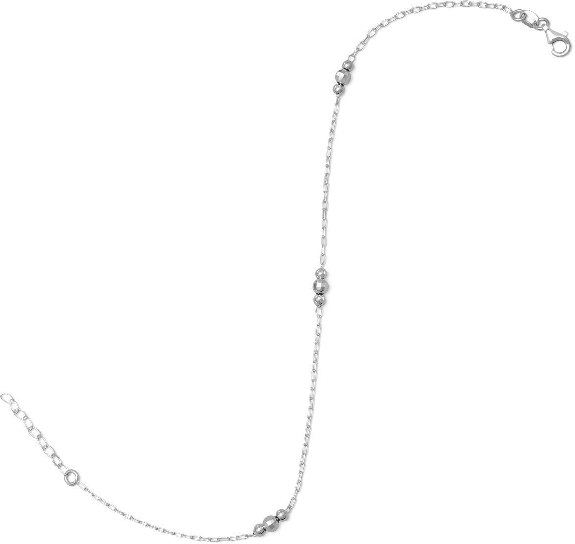 "11"" + 1"" Rhodium Plated Anklet with Beads 925 Sterling Silver"