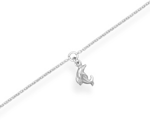 "9"" + 1"" Rhodium Plated Puffed Dolphin Charm Anklet 925 Sterling Silver"