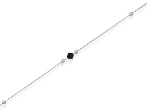 11 + 1 Rhodium Plated Anklet with Crystal 925 Sterling Silver