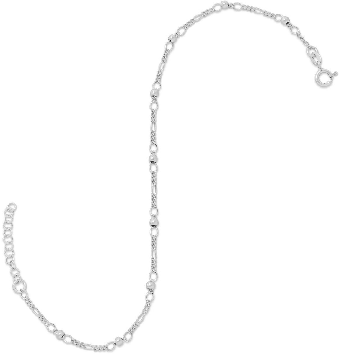 "11"" + 1"" Figaro Chain Anklet with Beads 925 Sterling Silver"