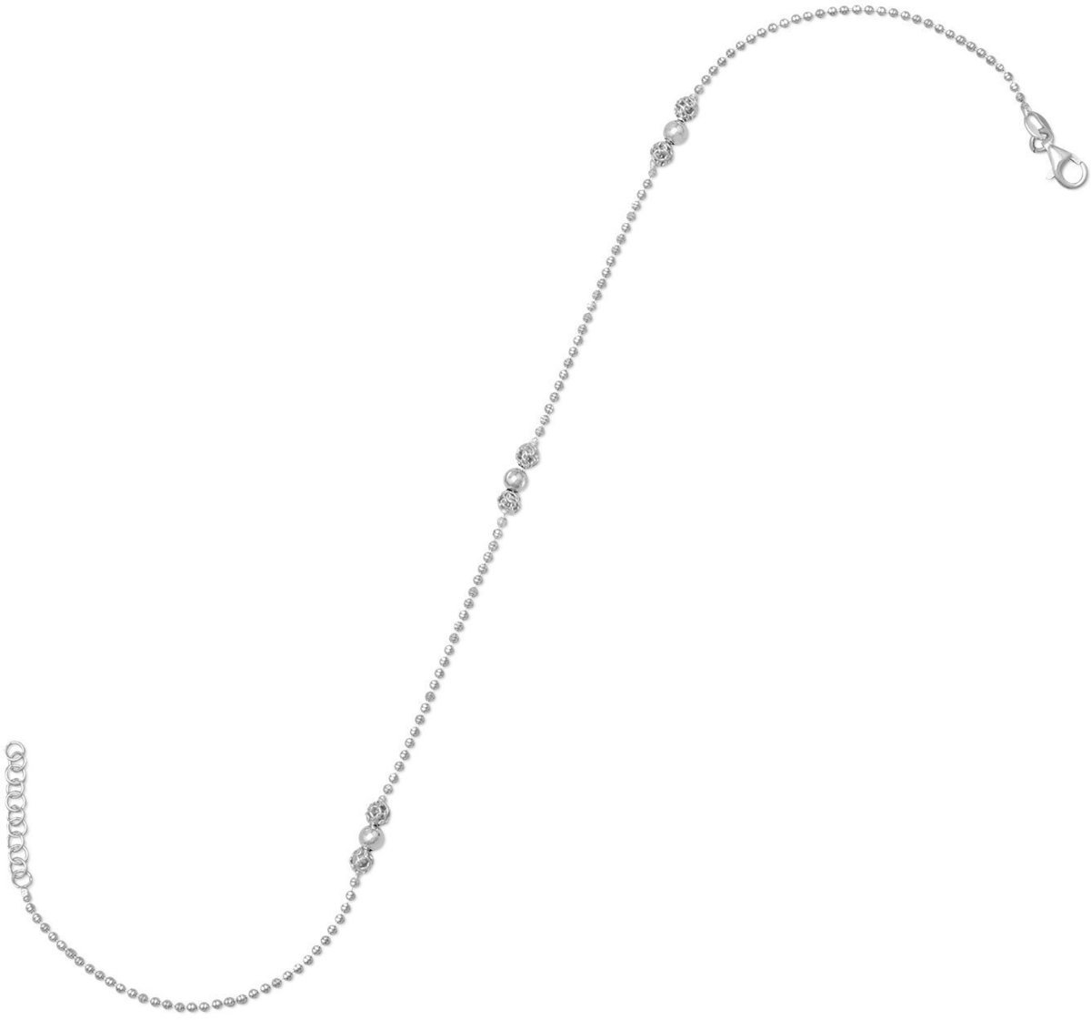 "11"" + 1"" Camilla Chain Anklet with Beads 925 Sterling Silver"