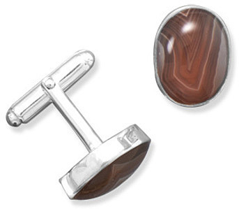 Agate Cuff Links 925 Sterling Silver