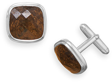 Bronzite Cuff Links 925 Sterling Silver