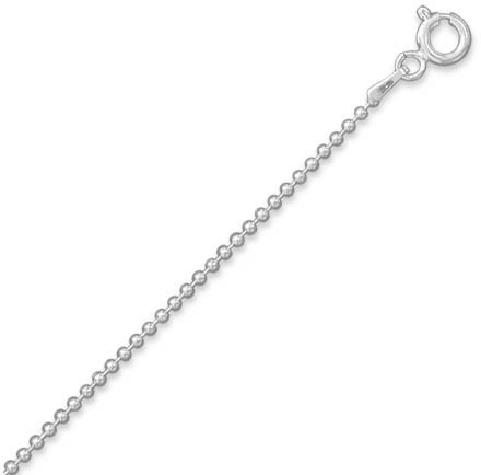 "16"" 1.5mm (0.06"") Bead Chain 925 Sterling Silver"