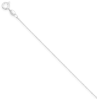"16"" 1mm (0.04"") Bead Chain Necklace 925 Sterling Silver"