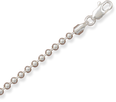"18"" 3mm (1/8"") Bead Chain Necklace 925 Sterling Silver"