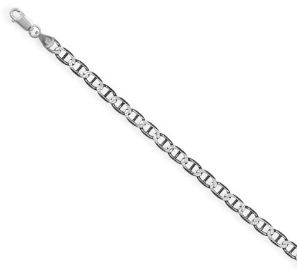 "7"" 120 Black Rhodium Plated Diamond Cut Marina Chain Bracelet (5mm / 1/5"") 925 Sterling Silver"