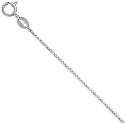 "16"" 019 Rhodium Plated Box Chain (1.1mm / 0.04"") 925 Sterling Silver"