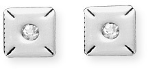 Stainless Steel CZ Stud Earrings