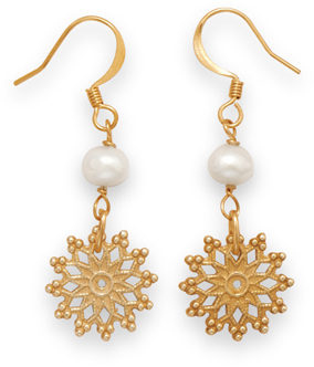 Gold Tone Fashion Earrings with Sun Drops and Cultured Freshwater Pearls