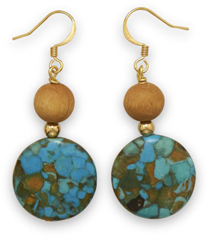 Mosaic Turquoise and Wood Bead Fashion Earrings
