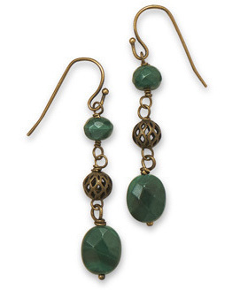 Antique Brass Earrings with Malachite