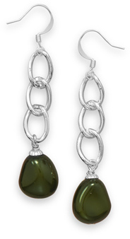 Green Glass Nugget Fashion Earrings