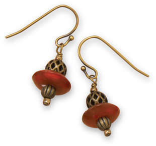 Brass Earrings with Horn Discs - DISCONTINUED