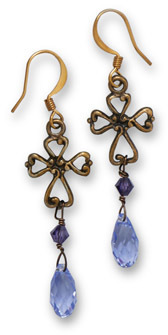 Brass Cross Earrings with Purple Crystals