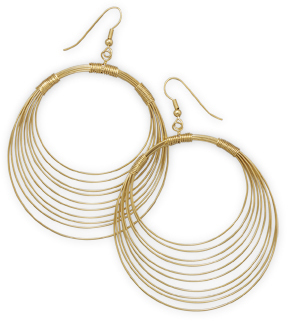 14 Karat Gold Plated Brass Graduated Wire Earrings - DISCONTINUED