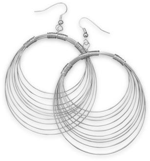 Rhodium Plated Brass Graduated Wire Earrings