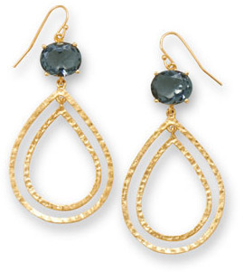 14 Karat Gold Plated Brass Earrings with Duksy Blue CZ