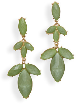 Gold Tone Fashion Earrings with Faceted Green Acrylic