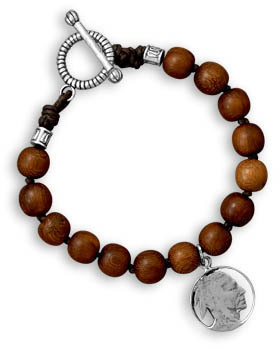 "9"" Wood Bead Men's Bracelet with Indian Chief Charm"