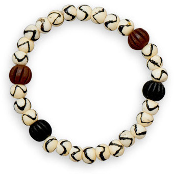 "8"" Bone and Wood Bead Stretch Bracelet"