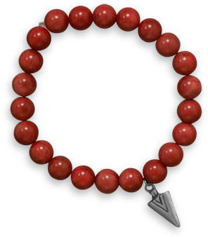 "8"" Red Coral Stretch Bracelet with Pewter Arrow Charm"