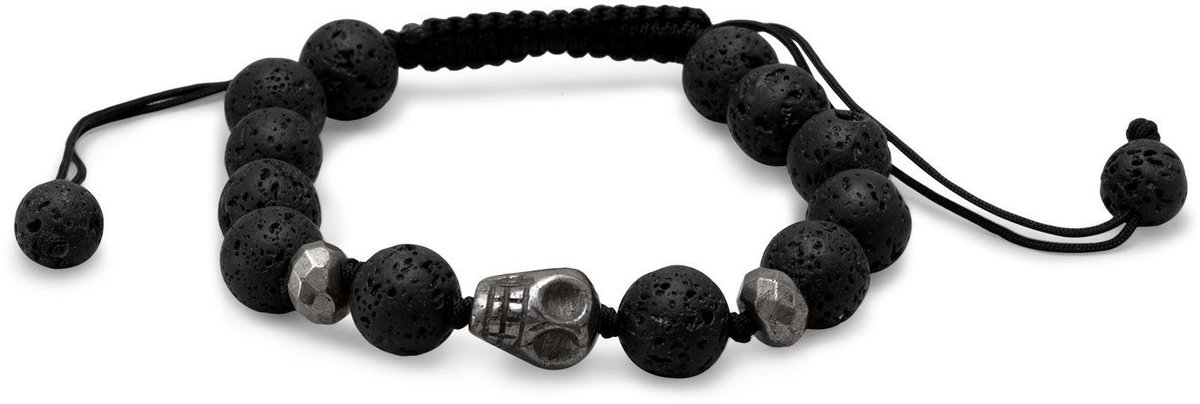 Adjustable Lava and Pyrite Bead Bracelet
